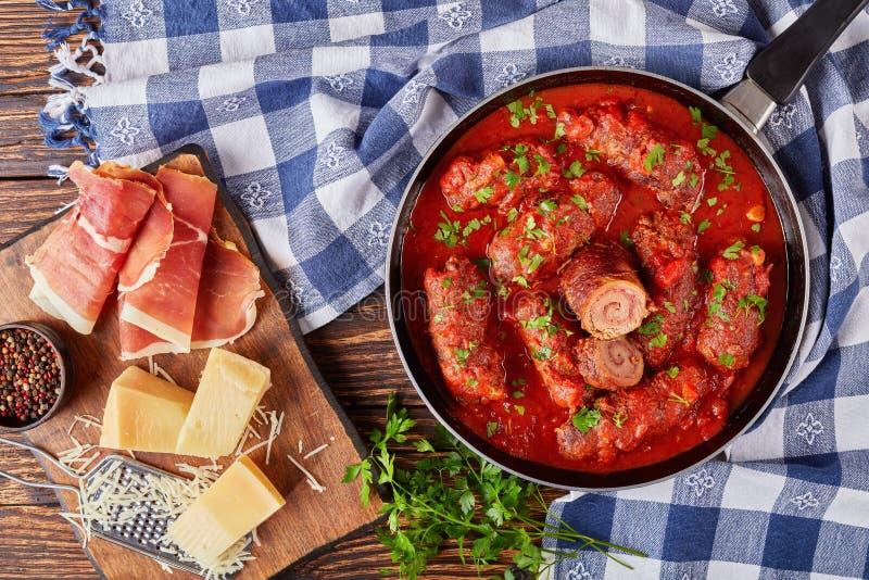 Italiano delicioso Braciole com molho do marinara foto de stock royalty free