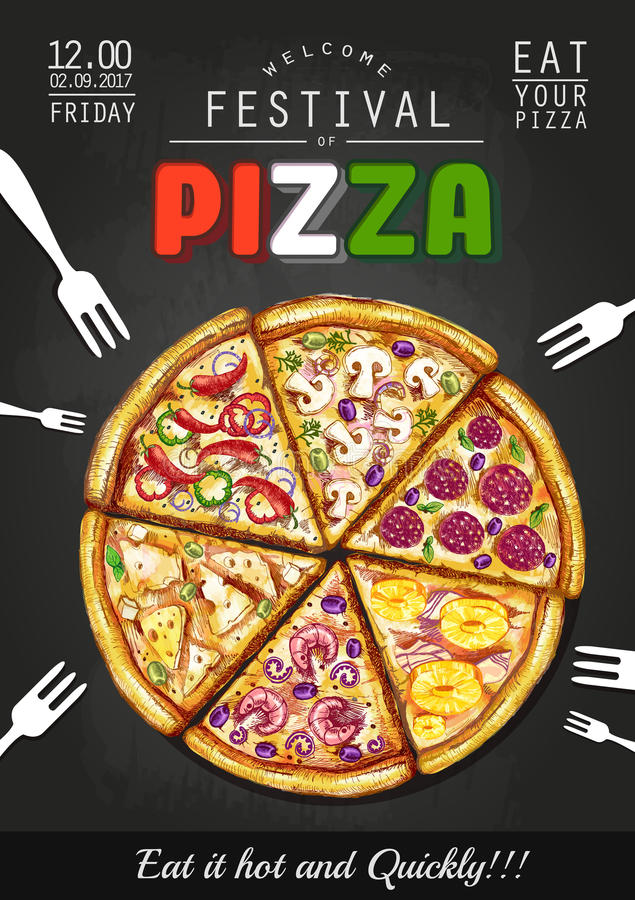 Italiano pizzy plakata tło royalty ilustracja