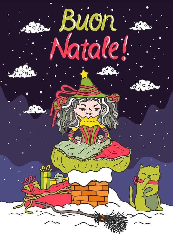 Italiano Santa Claus - Befana ilustração do vetor
