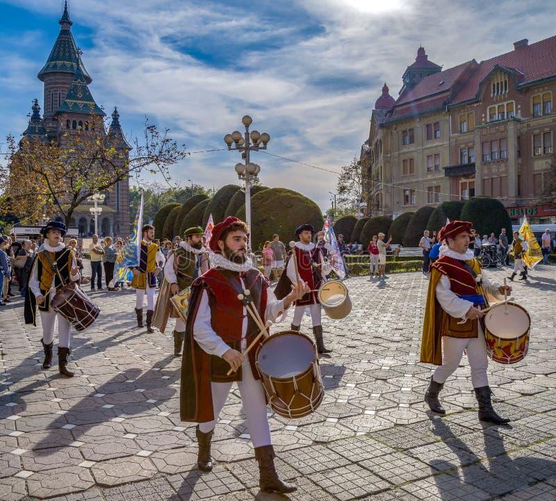 Free Italians SBANDIERATORI Show On The Street, Timisoara, Romania Royalty Free Stock Images - 159667149
