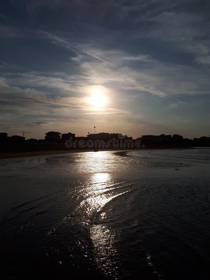 Italie Viserba. Sunset at the beach royalty free stock photo