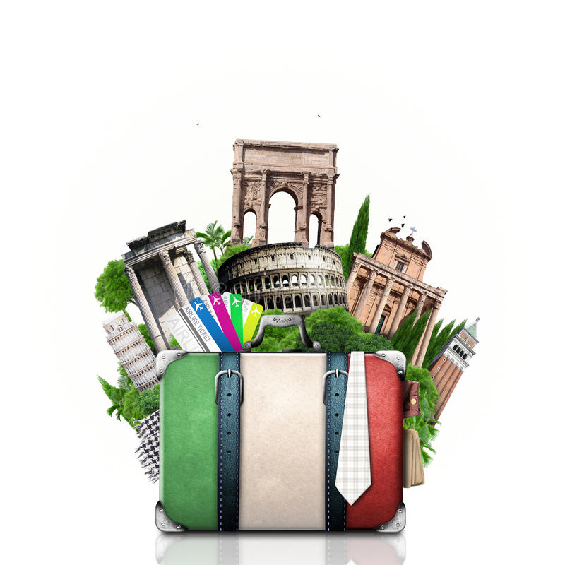 Italien, Anziehungskräfte Italien und Retro- Koffer lizenzfreie stockfotografie
