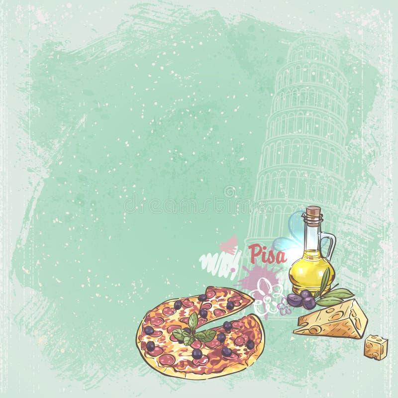 Italien bakgrund för din text med bilden av tornet av Pisa, pizza, ost och oliv stock illustrationer
