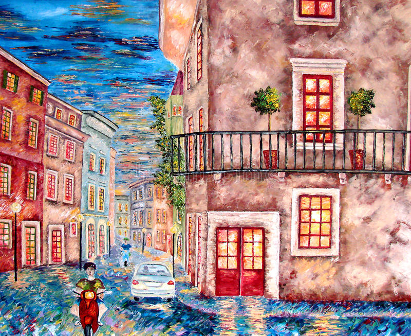 Download Italien City Evening Lights Painting. Stock Illustration - Image: 27413310