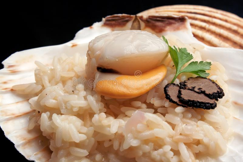 ` Italien de risotto de ` avec le trufflw et le feston images stock