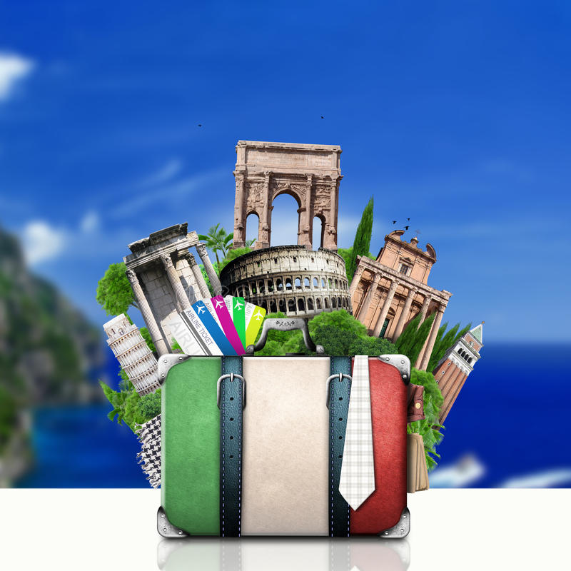 Italien, dragningar Italien och retro resväska arkivbilder