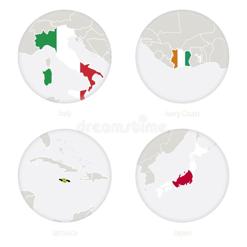 Italien, Elfenbeinküste-, Jamaika-, Japan-Kartenkontur und Staatsflagge in einem Kreis vektor abbildung