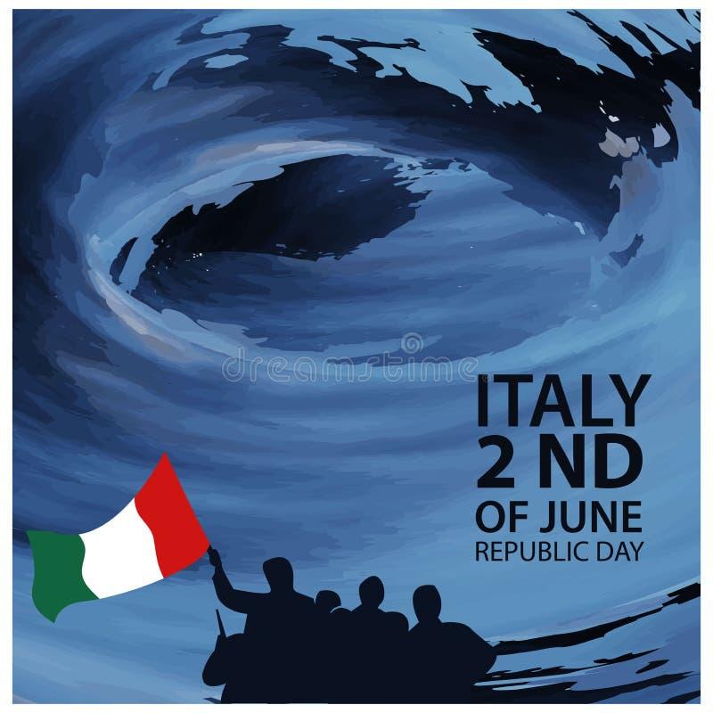 Italien för bakgrund för vektorillustrationabstrakt begrepp självständighetsdagen av Juni 2 Designer för affischer, bakgrunder, k royaltyfri illustrationer
