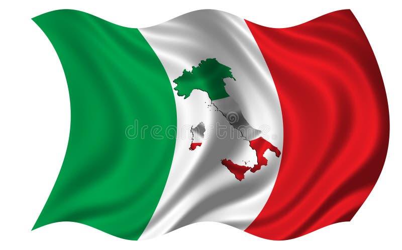 Italien flagga/översikt inom royaltyfri illustrationer