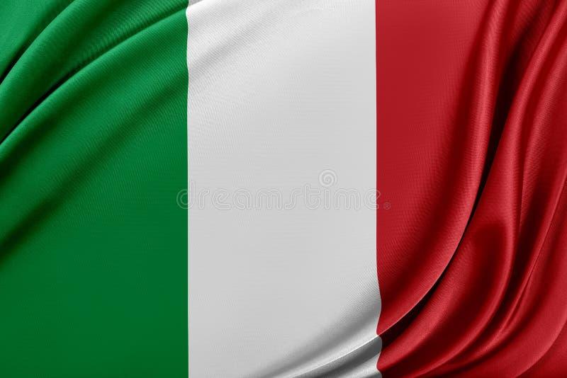 Italien flagga med en glansig siden- textur stock illustrationer