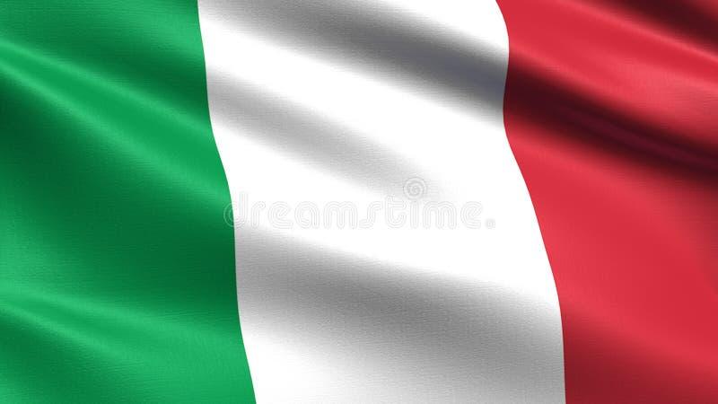 Italien flagga, med vinkande tygtextur royaltyfri illustrationer