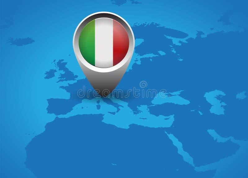 Italien flagga och översiktsknapp vektor illustrationer