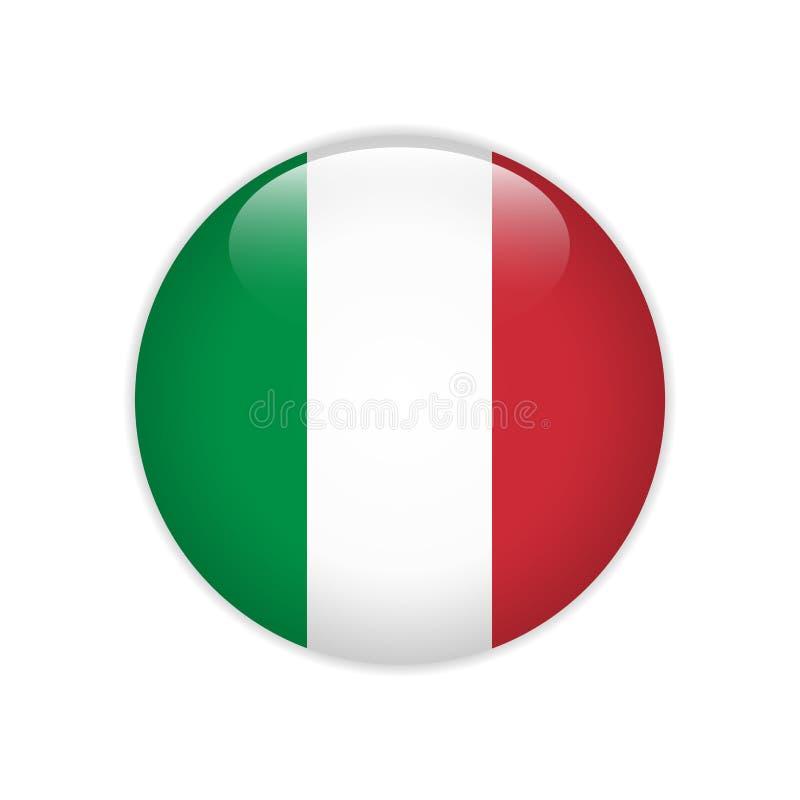 Italien flagga på knappen stock illustrationer