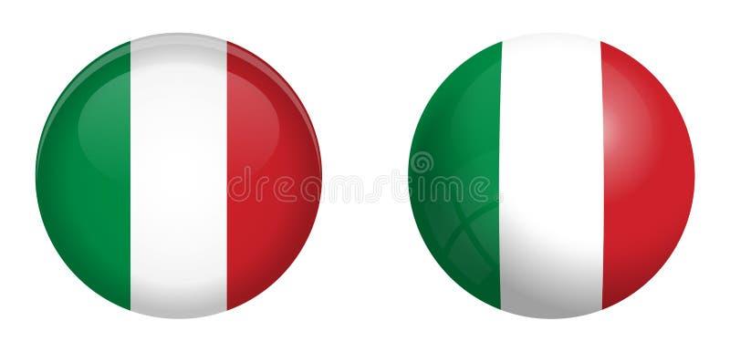 Italien flagga under knappen för kupol 3d och på glansig sfär/boll stock illustrationer