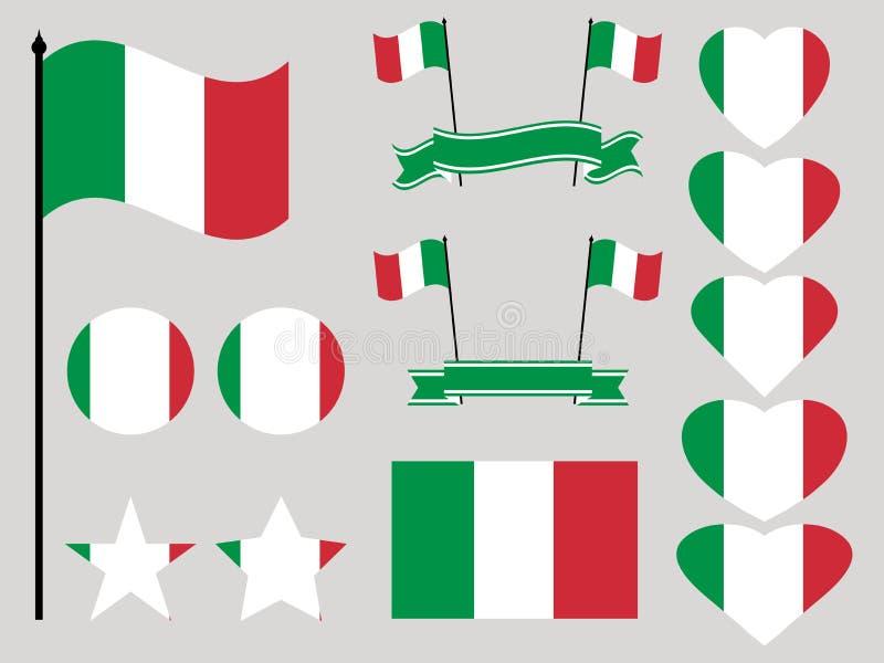 Italien flaggauppsättning Samling av den symbolhjärta och cirkeln vektor stock illustrationer