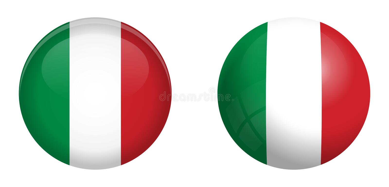 Italien-Flagge unter Knopf der Haube 3d und auf glattem Bereich/Ball stock abbildung
