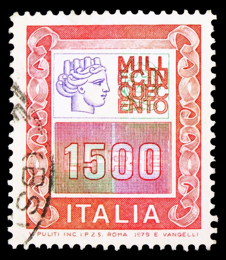 In Italien gedruckte Briefmarken zeigen hohe Werte, Serien, etwa 1979 stockbild
