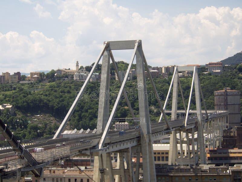 Italien Genova, Morandi bro arkivbild