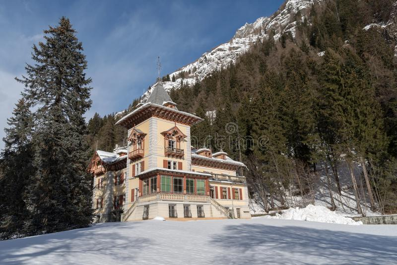 Italien Gressoney helgon Jean, villa Margherita royaltyfria foton