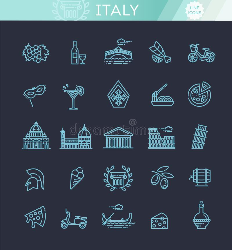 Italien-Ikonen eingestellt Tourismus und Anziehungskräfte, dünne Linie Design vektor abbildung
