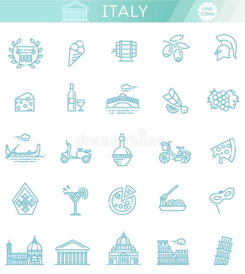 Italien-Ikonen eingestellt Tourismus und Anziehungskräfte, dünne Linie Design stock abbildung