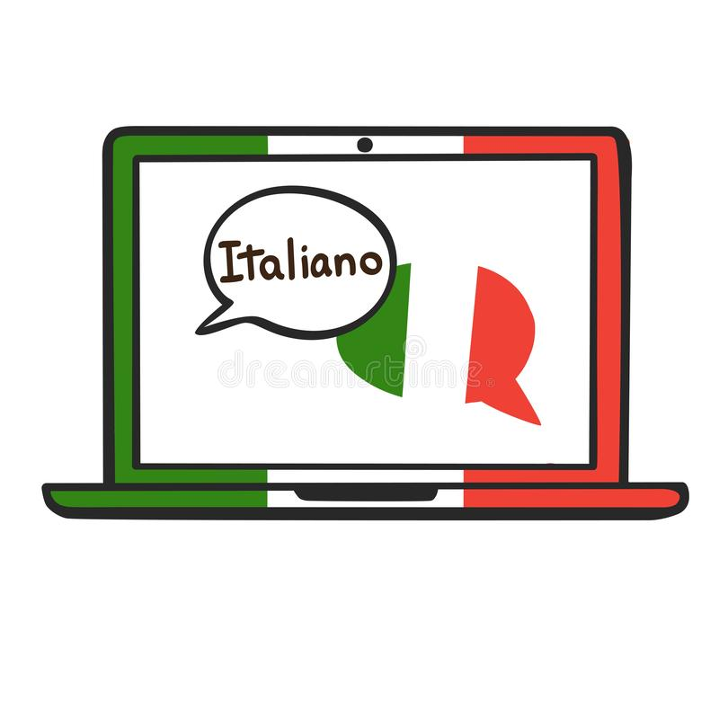 italien Illustration de vecteur pour l'école de langues en ligne illustration de vecteur