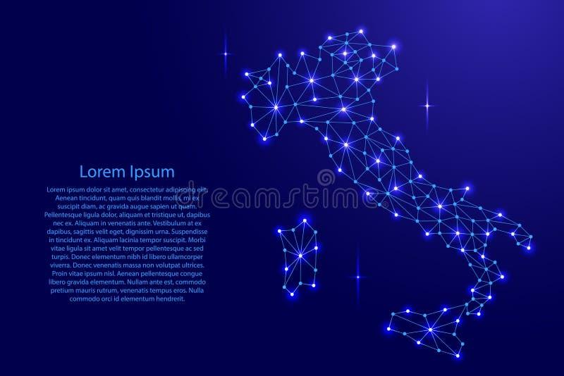 Italien-Karte des polygonalen Mosaiks zeichnet Netz, Strahlen, Raumsterne der Illustration lizenzfreie abbildung