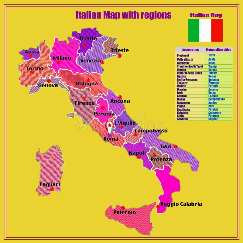 Italien Karte Regionen.Italien Karte Mit Italienischen Regionen Grafische Illustration