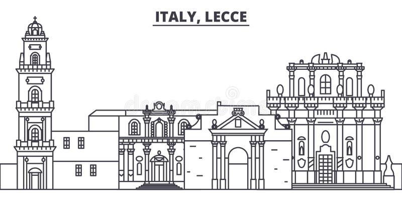 Italien Lecce linje horisontvektorillustration Italien Lecce linjär cityscape med berömda gränsmärken, stad siktar, vektorn vektor illustrationer
