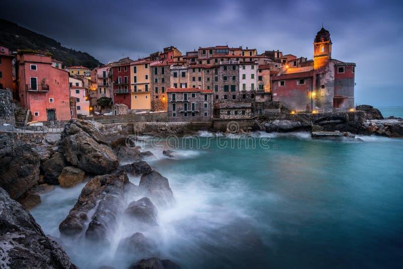 Italien Liguria, Riviera di Levante, Tellaro royaltyfria foton