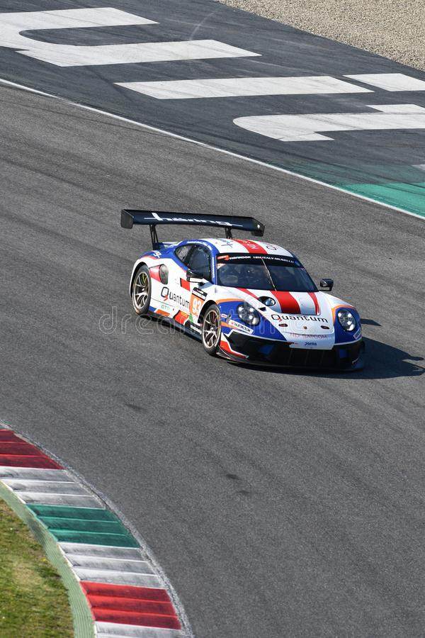 Italien - 29. März 2019: Porsche 911 GT3 R von Herberth-Motorsport-Deutschland-Team lizenzfreie stockbilder