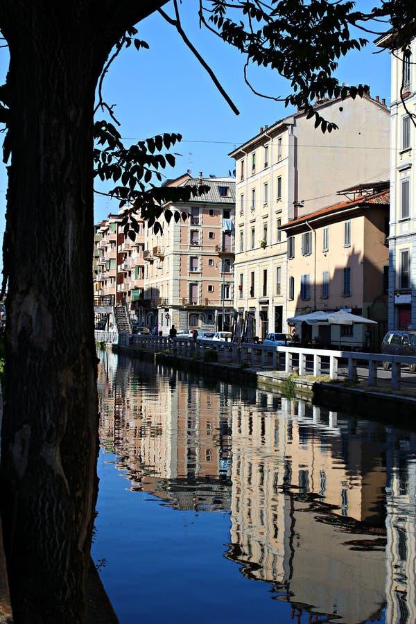 Italien, Mailand: 'Naviglio 'der Mailand-Fluss stockbild