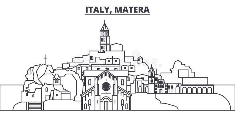 Italien Matera linje horisontvektorillustration Italien Matera siktar linjär cityscape med berömda gränsmärken, stad stock illustrationer