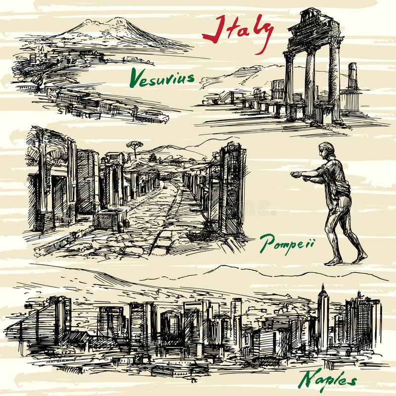Italien Naples, Pompeii vektor illustrationer