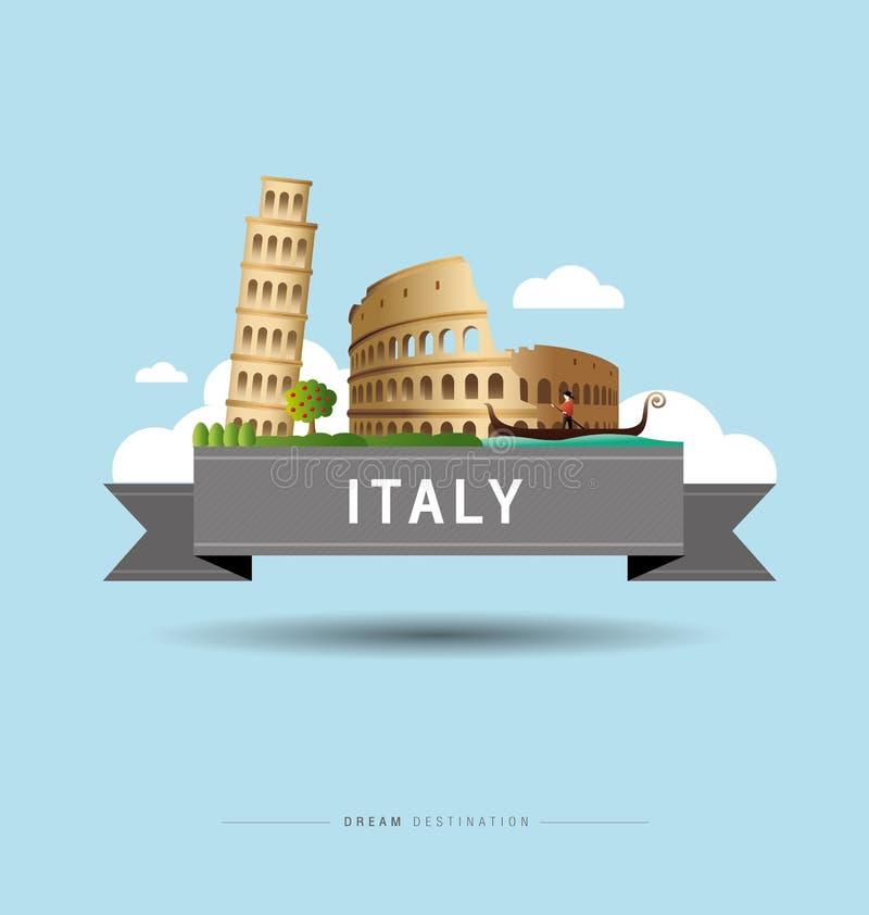 Italien och Pisa, Rome, Colosseum, gränsmärke royaltyfri illustrationer