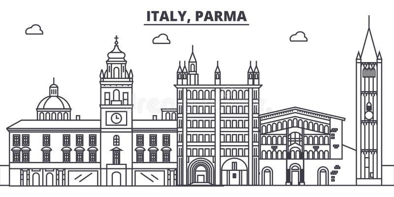 Italien Parma linje horisontvektorillustration Italien Parma siktar linjär cityscape med berömda gränsmärken, stad, vektorn stock illustrationer