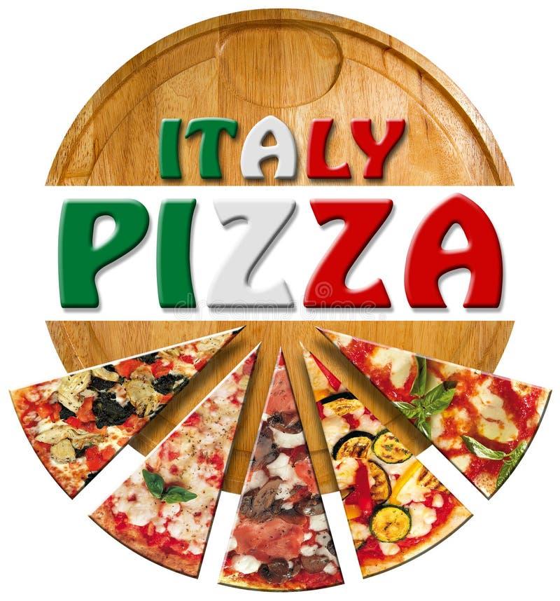Italien pizza på skärbrädan stock illustrationer