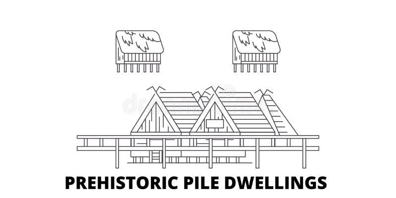 Italien, prähistorische Stapel-Wohnungen zeichnen Reiseskylinesatz Italien, prähistorischer Stapel-Wohnungsentwurfsstadtvektor lizenzfreie abbildung