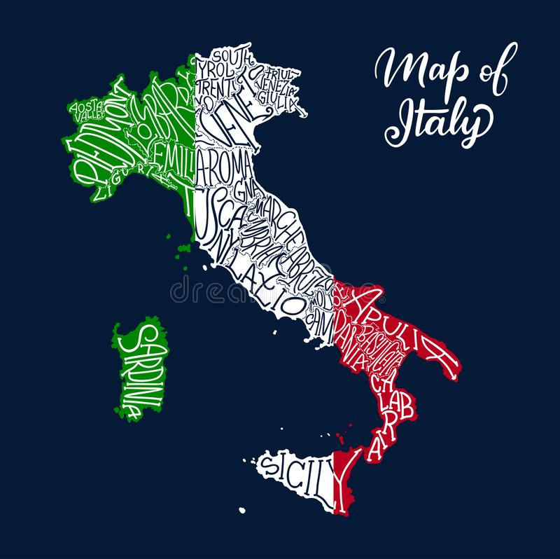 Italien-Regionskarte in der Vektorskizzenbeschriftung vektor abbildung