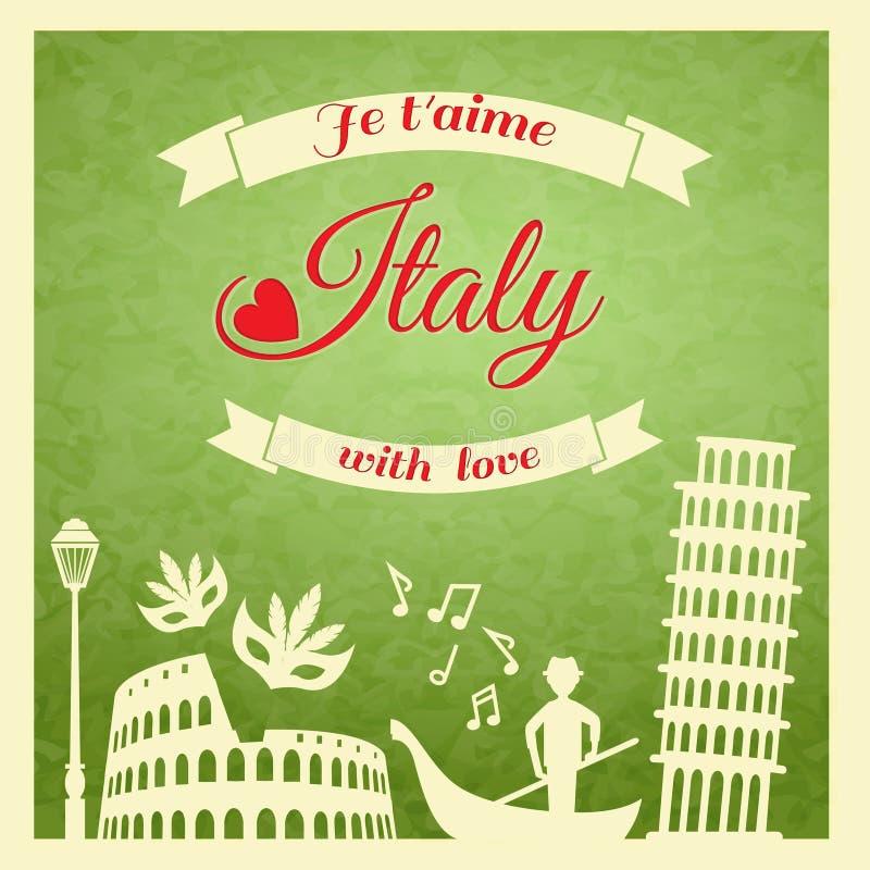 Italien retro affisch royaltyfri illustrationer
