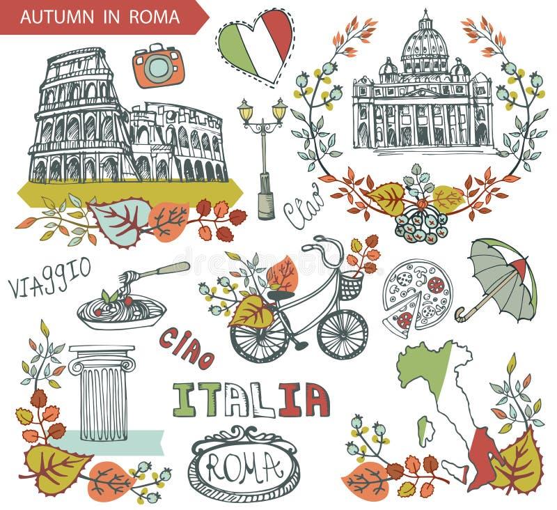 Italien Rome gränsmärkeuppsättning Grupp för wteath för höstsidor stock illustrationer