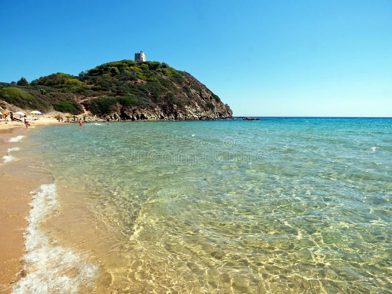 Italien Sardinia, Cagliari, strand Su Portu, Chia royaltyfri bild