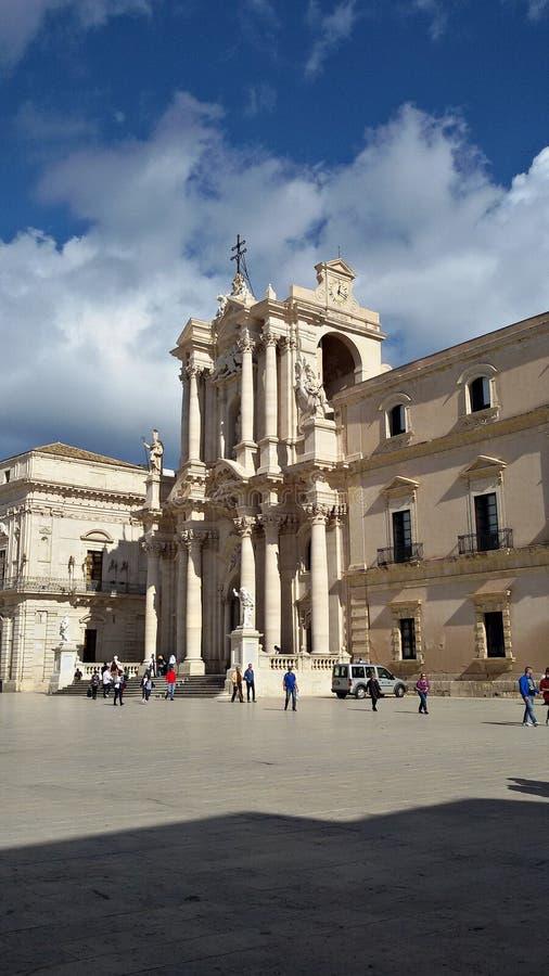 Italien Sicilien, Trapani: Syracuse domkyrkafyrkant arkivfoton