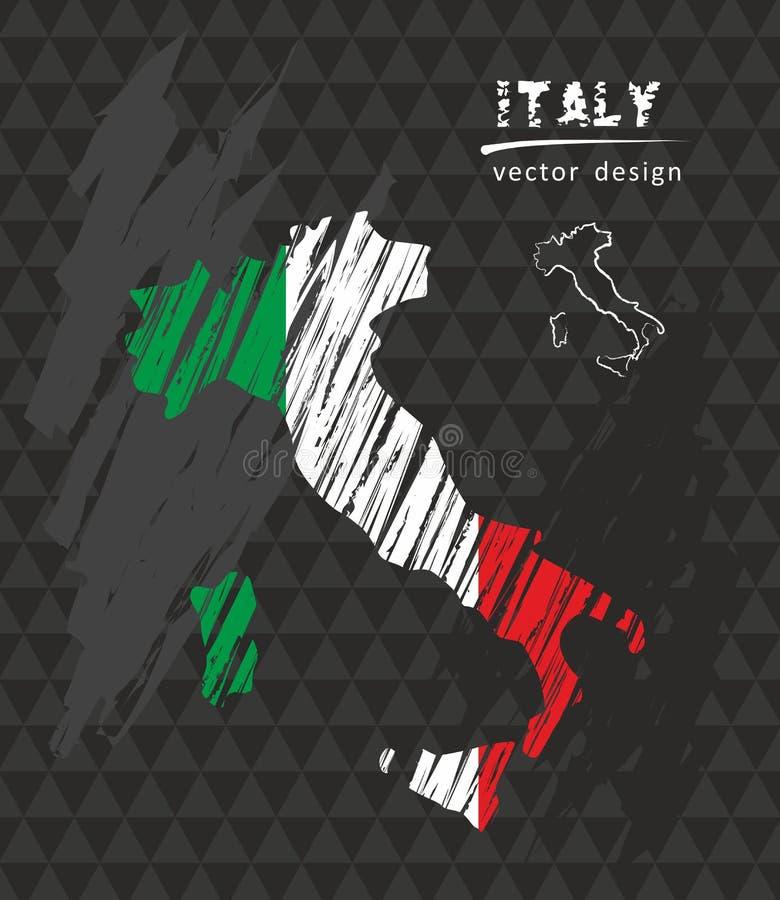 Italien skissar den nationella vektoröversikten med kritaflaggan Skissa drog illustrationen för krita handen stock illustrationer