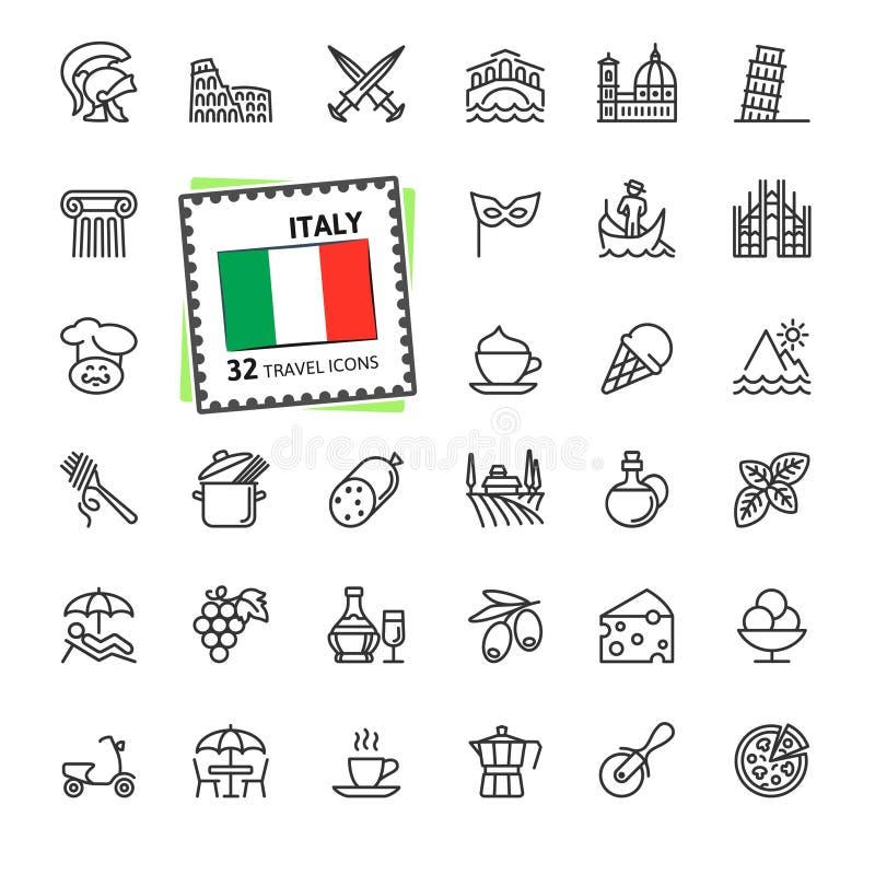 Italien som är italiensk - minsta tunn linje rengöringsduksymbolsuppsättning ?versiktssymbolssamling vektor illustrationer