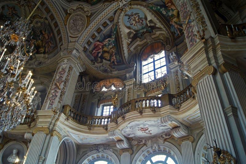 Italien Turin kunglig slott Stupinigi berömda stora Hall det största privata runda rummet av barock konst royaltyfria foton
