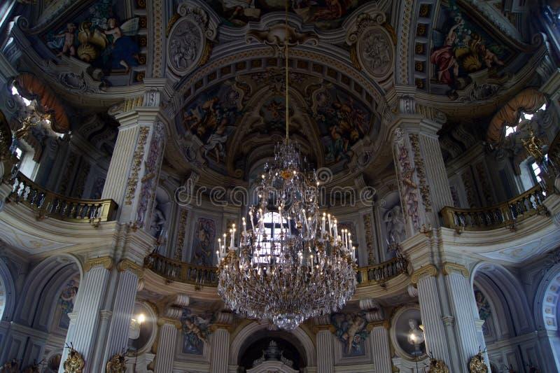 Italien Turin rundar den kungliga slotten Stupinigi berömda stora Hall, de största privaena rum i barock stil arkivbilder