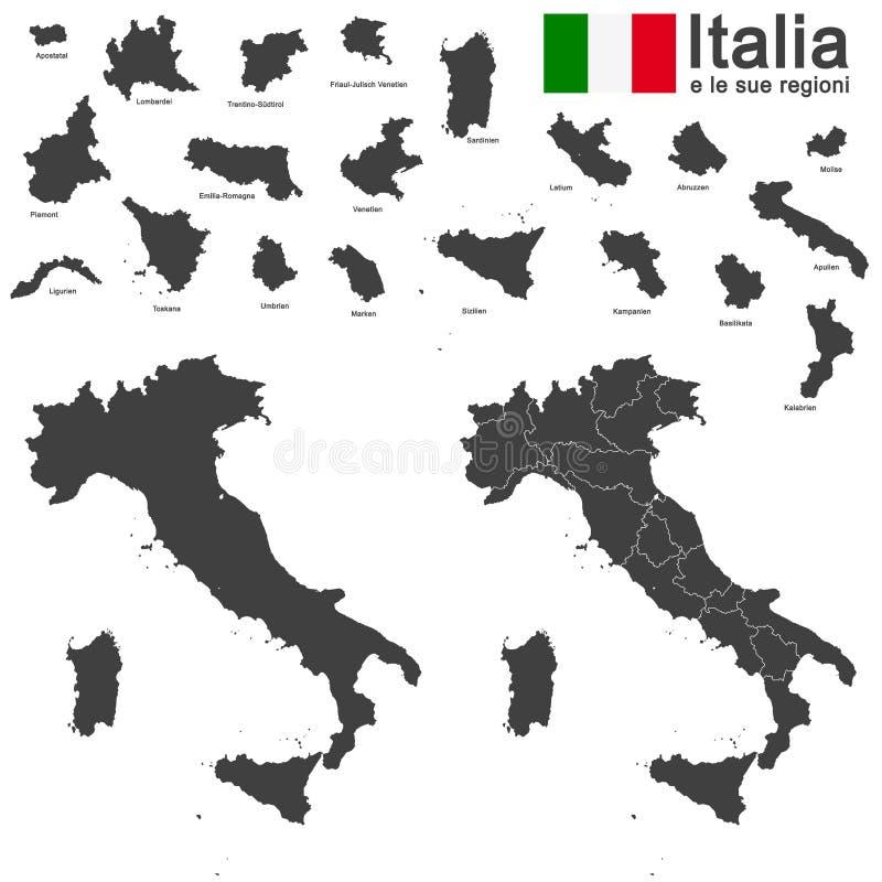 Italien und Regionen vektor abbildung