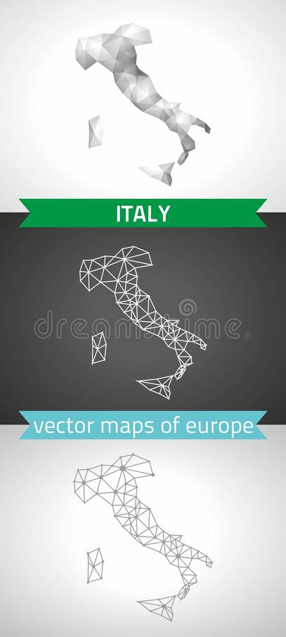 Italien uppsättning av polygonal översikter för grå färg- och silvermosaik 3d stock illustrationer