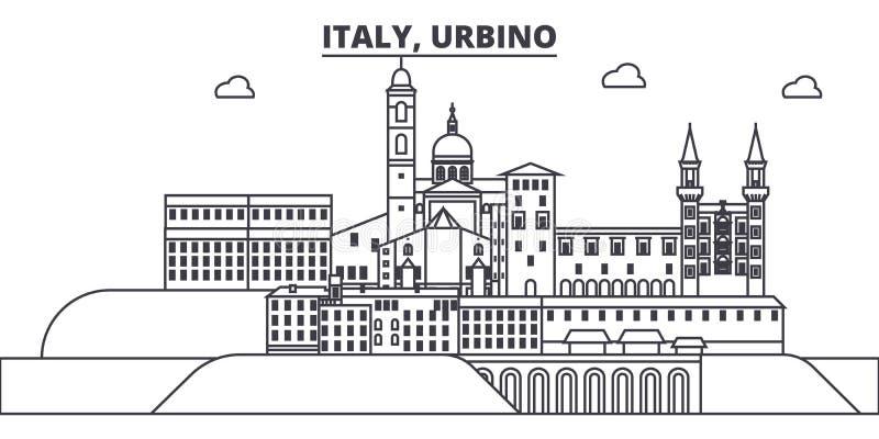 Italien Urbino linje horisontvektorillustration Italien Urbino siktar linjär cityscape med berömda gränsmärken, stad vektor illustrationer